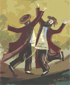 Original artwork by Nechama Shaish available in needlepoint. These Chasidim are dancing in true joy.