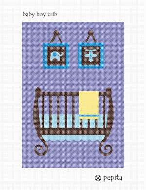 Decor for a baby nursery. Stitch a crib along with two wall hangings of a flower and elephant.  This serves as excellent wall decor or art for a baby boy nursery. Perfect gift for a baby boy shower.