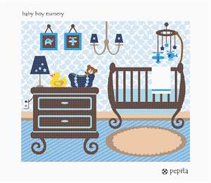 Stitch a baby boy nursery with a crib, mobile, dresser, lamp, diaper bag, and a rubber duckie.