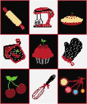 With a rolling pin, cherry pie, whisk, mixer, measuring spoons, oven mitts, and glove, stitch this needlepoint with a delectable cherry cupcake in the center.