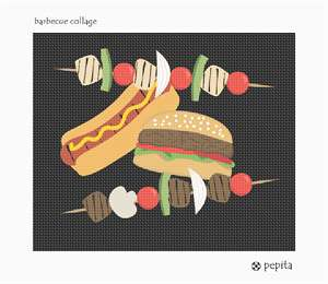 A hamburger, hot dog, and shish-kabobs in a barbecue collage. Barbecues remind us of summer. Let it be summer all year long as you stitch these adorable grilling foods. Don't forget to stitch the mustard!