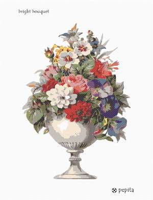 A stately urn displays a bright arrangement of floral goodness.