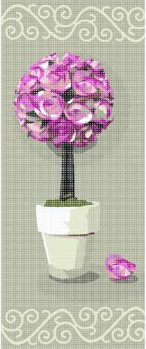 Rose topiary centerpiece standing proudly against contrasting background.