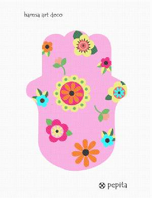 A Hamsa amulet hand to needlepoint.  It is filled with art deco flowers.