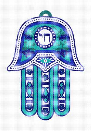 A hamsa with the Hebrew word for life in bright blues.