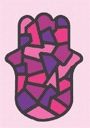 Stained glass in pink in a hamsa good luck amulet sign