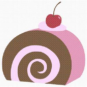 A perfect beginner needlepoint.  Stitch a ice cream or jelly roll cake dessert with a cherry on the top.  Sure to be a winner!