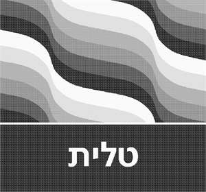 Tallit bag design with wavy gray lines dominating the upper portion, and a solid area for text along the bottom, separated by a white line.