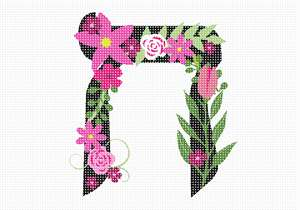 Letter Ches in Hebrew. Decorative Floral monogram in all Hebrew letters available.