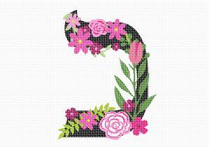 Letter Kaf in Hebrew. Decorative Floral monogram in all Hebrew letters available.
