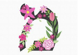 Letter Mem in Hebrew. Decorative Floral monogram in all Hebrew letters available.