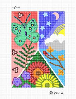 A collage of nature: a butterfly, flowers, a bird on a branch, sun, moon, stars, and clouds, and a fern leaf.