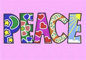 The word Peace filled in with eye-catching patterns. This is an adorable word canvas with cutesy designs in each letter of the alphabet.  Every house should have a peace sign in it.  The world in 2020 needs more peace.