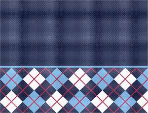 Argyle design along the bottom of a navy blue tallit bag. The upper area can be customized with a person's name.