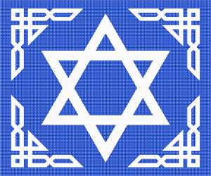 This design is based on our Tallit Triangular Border design, but it has an outline of a Magen David, the Star of David, otherwise known as a Jewish Star. It is a generally recognized symbol of modern Jewish identity and Judaism. Its shape is that of a hexagram, the compound of two equilateral triangles. These colors and star are similar to those of the Israeli flag.