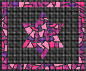 Stained glass design with pink tones