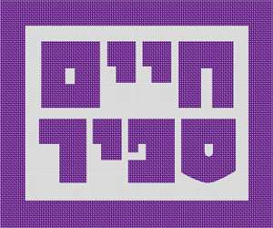 Stark Hebrew letters spelling the owner's name, framed in thick solid purple.