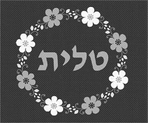 Tallit bag design decorated with a flowering wreath. In black and white colors.