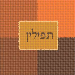 Tefillin bag needlepoint design in shades of rust and deep orange.