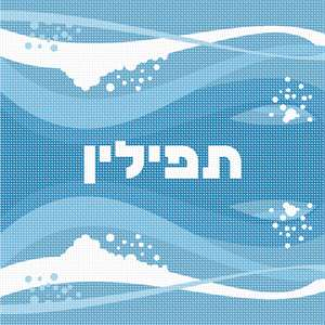 Tefillin design in a surf wave theme. Mazel Tov on the bar mitzvah. You stitch the front. After it is completely stitched, it is sent to a professional finisher who adds a lining, back, and matching zipper. See coordinating tallit bag design.