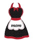 A black and white polka dot apron for mom with a red trim and bow. Stitch your appreciation for her.