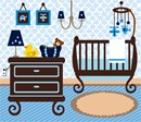 Stitch a baby boy nursery with a crib, mobile, dresser, lamp, diaper bag, and a rubber duckie. This is a delightful design with so many details. This is perfect for a beginner to be stitched in basketweave or tent stitch. It is also fantastic for and advanced stitcher who wants to use different stitches in each area.