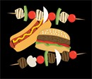 A hamburger, hot dog, and shish-kabobs in a barbecue collage.
