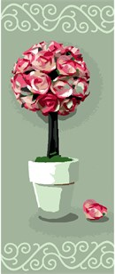 Potted rose topiary centerpiece.