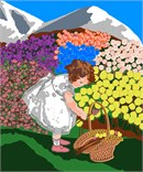 Needlepoint: Girl Picking Flowers