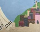 A Tallis in the foreground against a backdrop of Jerusalem architecture. Hand painted. Stitch guide included.