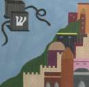 A tefillin in the foreground against a background of Jerusalem architecture. Hand painted. Stitch guide included.