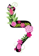 Letter Lamed in Hebrew. Decorative Floral monogram in all Hebrew letters available.