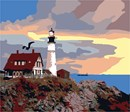 Needlepoint: Lighthouse At Sunset