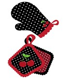 Polka dot oven mitts for mom's kitchen with cherries for decor.