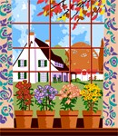Needlepoint: Potted Plants By The Window