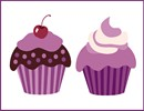 "A pair of tempting purple pastries, complete with pretty toppings.  Cupcakes have been around since the late 1700's. The first mention of the cupcake can be traced as far back as 1796, when a recipe notation of ""a cake to be baked in small cups"" was written in American Cookery by Amelia Simms."