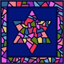 Stunning depiction of stained glass Jewish star in rich pastel colors against deep blue.