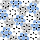 Tessellation of five-sided polygons arranged around six-pointed stars, in shades of gray and blue.