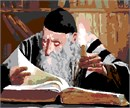 A rabbi pores over an ancient Torah text by candlelight.