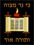A torah and a candle in needepoint