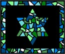Tallit stained glass design in shades of green and blue