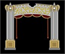 Tallit bag with pillars, curtain, bell pulls, and ornamented arch.
