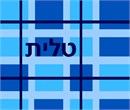 A tallit bag in shades of blue plaid
