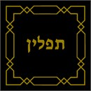Tefillin bag design with gold etched geometric design.
