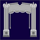 Tefillin bag with pillars, valence, rope tassels, against deep navy background.