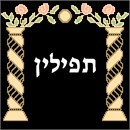 Tefillin bag design with dual pillars topped by a floral motif.