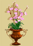 An urn in earthen colors, green foliage, and purple-pink flowers.