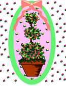 Topiary artwork with melon-themed colors.