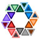 Star of David surrounded by triangles in a clever and colorful design.