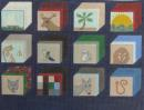 Twelve images, each representing one of the twelve tribes of Israel. Hand painted on 18-count canvas.